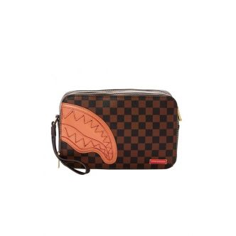 BROWN HENNY SQUARE TOILETRY BAG